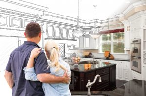 Couple Facing Custom Kitchen Drawing Gradating To Photo.