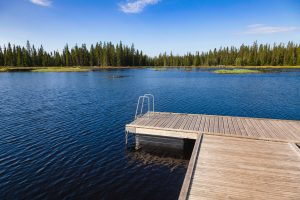 Floating swimming raft dock on a forest lake