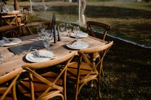 outdoor dining table setup autumn