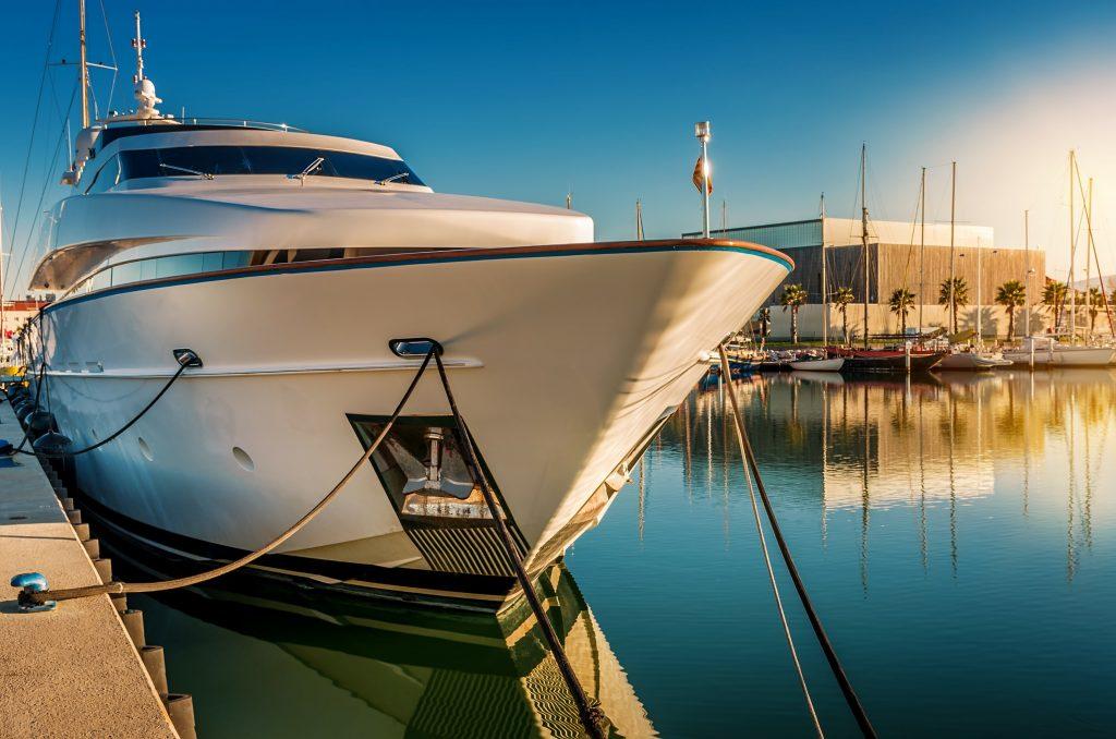 luxury yacht at dock
